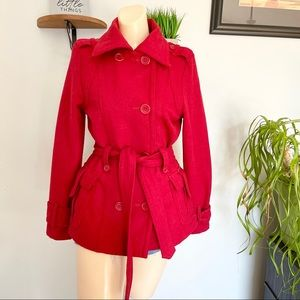 JOUJOU RED BELTED PEACOAT